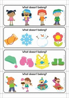 Winter Preschool Centers. A page from the unit: clip the picture that doesn't belong