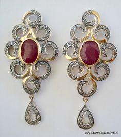 Victorian diamond ruby 14k gold silver earrings!