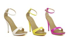 Simple sandals solid color lovely fashion dress ,shoes.Upper material: PU ,Inner material: PU ,Sole material: rubber ,Toe style: open toe ,Heel height: 12.5cm ,Platform: 2cm ,Heel shape: stiletto heel ,Color: yellow, red, white.