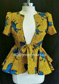 Collection of the most beautiful and stylish ankara peplum tops of 2018 every lady must have. See these latest stylish ankara peplum tops that'll make you stun African Print Dresses, African Print Fashion, Africa Fashion, African Fashion Dresses, African Dress, Fashion Prints, Fashion Design, African Prints, Ghanaian Fashion