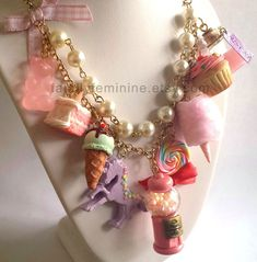 Items similar to Statement Necklace Kawaii Rainbow Candy Shop Necklace Dessert Necklace Rainbow Cake Gumball Machine Unicorn Couture Necklace on Etsy Kawaii Accessories, Kawaii Jewelry, Cute Jewelry, Jewelry Necklaces, Statement Necklaces, Charm Jewelry, Geek Jewelry, Diamond Necklaces, Gothic Jewelry
