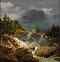 Joachim Frich (1810-1858) - Norwegischer Wasserfall bei aufziehendem Wetter Fantasy Landscape, Landscape Art, Landscape Paintings, Mountain Paintings, Traditional Paintings, Mountain Landscape, Cool Landscapes, Beautiful Paintings, Nature Photos