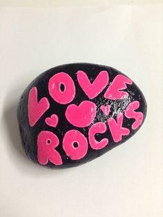 Hand painted garden rock. Valentine garden by SheilasGardenGirls