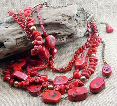 RED Coral Statement Necklace Earrings 5 by MMDJewellery on Etsy Organza Ribbon, Red Coral, Strands, Fashion Necklace, Special Gifts, Glass Beads, Handmade Jewelry, Jewellery, Earrings