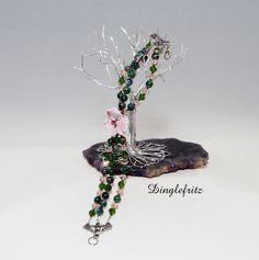 Lampworked glass flower beaded bracelet (pink, green, silver, bead) by Dinglefritz, $19.00 USD