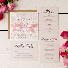 pearlescent laser cut wedding invitation set by peach wolfe paper co. | notonthehighstreet.com