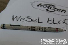 Papier-Bleistift – DIY Anleitung. Upcycling von alten Zeitungen und Zeitschriften. Super einfach, super nützlich und macht auch noch Spaß. Auch geeignet als nettes kleines Geschenk.