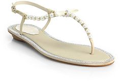 Rene Caovilla Crystal & Faux Pearl Leather Sandals - Perfect for a beach wedding!