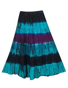 Distressed tie dye broomstick skirt has a stretch elastic waist with skinny tie. Lined. sonsi.com