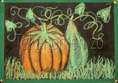 Door Kiki, groep 8 Benodigdheden: zwart tekenpapier op A4 formaat pastelkrijt of bordkrijt pompoenen of afbeeldingen van pompoenen spuitbus...