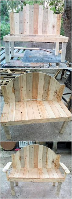 Try this simple yet rough artistic design piece of the wood pallet bench in your… - Interior Decoration Accessories coffee tables Lawn Furniture, Reclaimed Wood Furniture, Diy Pallet Furniture, Outdoor Furniture, Diy Wood Bench, Furniture Nyc, Furniture Showroom, Furniture Outlet, Furniture Stores