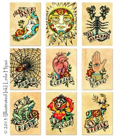 Old School Tattoo Art Prints Mexican Loteria SET of 9 Designs - 5 x 7 or 8 x 10