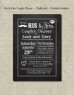 His & Hers Couple Shower -- Chalkboard -- Printable Invitation