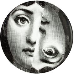 L'Eclaireur Made By Fornasetti printed plate (2,620 MXN) ❤ liked on Polyvore featuring home, home decor, wall art, black, black white wall art, black and white plates, black plates, black and white home decor and black white plates