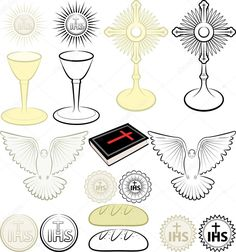 Symbols of Christianity Royalty Free Vector Image , Première Communion, First Holy Communion, Christian Religions, Christian Symbols, Free Vector Images, Vector Free, Rose Frame, Flag Vector, Vector Flowers