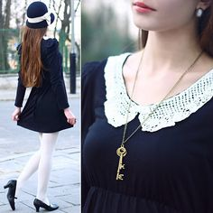 Black Dress With Lace Collar, White Tights, River Island Retro Black Hat With Bow, Marisha Black Strap Shoes, White Oval Earrings, Necklace With Keys