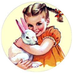"""vintage 1950's childhood art... """"Evie with her Bunny"""""""