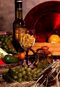 pasta with wine | Wine Bottles and Still Life |