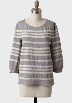 Gray Iris Lace Stripe Top | Modern Vintage Tops