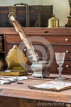 Photo about Old desk with an inkwell and pen. Image of antique, vintage, glass - 68756610 Old Desks, Work Desk, Castle, Europe, Stock Photos, Antiques, Image, Preppy Desk, Antiquities