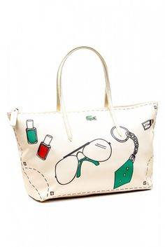 Lacoste Blogger Horizontal Tote Bag - Material  Synthetic Leather - Zipped  top ff9d8cd1e2
