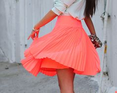 Coral accordion skirt