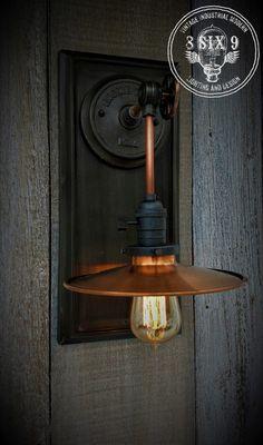 Industrial Copper Metal Shaded Wall Sconce – iD Lights Cabin Lighting, Edison Lighting, Mason Jar Lighting, Industrial Lighting, Wall Sconce Lighting, Lighting Ideas, Bronze Wall Sconce, Wall Sconces, Wall Lamps
