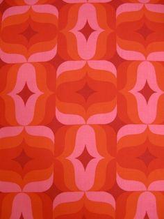 Vintage 1970's fabric yardage. Love pink and orange together, bold!