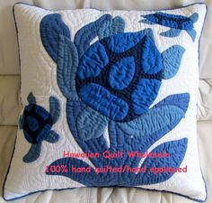 hawaian turtle quilt | Sea Turtles-B (mother & baby honu) 2 pillow covers
