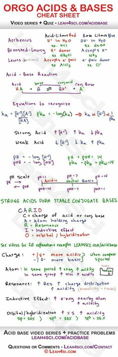 Acids and Bases in Organic Chemistry - Arrhenius, Bronsted-Lowry and Lewis acids and bases, reactions, acid/base strength, pH to pKa relationship and more Más Chemistry Help, Chemistry Notes, Chemistry Lessons, Teaching Chemistry, Science Chemistry, Physical Science, Science Education, Forensic Science, Life Science