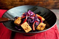 Rice Bowl With Sweet and Sour Purple Cabbage, Red Peppers and Baked Marinated Tofu - NYTimes.com