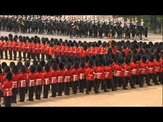 Scots Guards Trooping Their Colour The Queen's Annual Birthday. What a beautiful serenade.