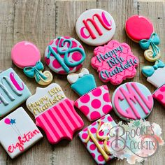 Girly Birthday Cakes, Happy Birthday Cookie, Birthday Party Treats, 18th Birthday Party, Birthday Cookies, Cupcake Cookies, Sugar Cookies, Birthday Ideas, Birthday Beer