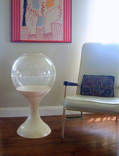 1974 Tall Terrarium - ATOMIC ERA PLANTER Space Age Mod White Tulip Base Clear Lucite Plastic Bubble Dome