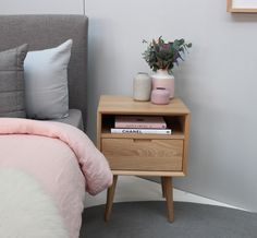 Buy Mia Contemporary Nightstand with Shelf Online