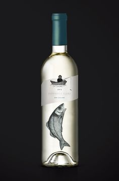 """White wine label design with fisherman & fish illustration - White wine label design with fisherman & fish illustration """"White wine label design with fisherma - Wine Label Art, Wine Bottle Labels, Wine Bottle Design, Wine Label Design, Chenin Blanc, Wine Photography, Poster Photography, Wine Brands, Bottle Packaging"""