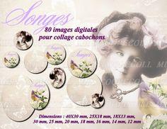 """80 images pour collage digital cabochons bijoux """"Songes"""" : Loisirs créatifs, scrapbooking par miss-coopecoll"""