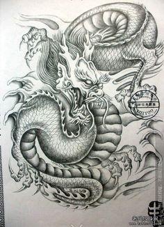 武汉最好的纹身店推荐一组披肩过肩龙纹身手稿图案 Dragon Tiger Tattoo, Dragon Tattoo Drawing, Small Dragon Tattoos, Dragon Sleeve Tattoos, Japanese Dragon Tattoos, Japanese Tattoo Art, Dragon Tattoo Designs, Lion Tattoo, Tattoo Drawings