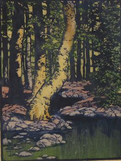 Still Water, 1933 by Frances Hammell Gearhart (b. 1869-1958), Californian artist (occasionally taught by Charles H. Woodbury) known for her colour woodcuts of the Sierras, the Pacific Coast, and the area around Big Bear Lake. She described sentinel trees, groves of eucalyptus, pines, oaks and Monterey cypress as well as valleys and canyons. http://www.francesgearhart.com/ Tags: Helen Elstone, Trees, Trunks, Bark, River