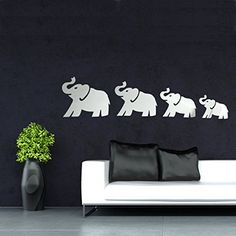 $9.40  - KISSMYTWINS DIY 3D Four Cute Elephants Mirror Wall Stickers Art Decal Home Decor *** Check this awesome product by going to the link at the image. (This is an affiliate link) #WallStickersMurals