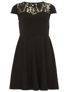 Black lace and ponte dress