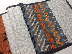 Quilted Halloween Table Runner, Ghosts and Bats Table Topper, Quiltsy Handmade by Clothstitched on Etsy