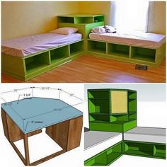 For the boys' bedroom makeover. Two beds with shared corner storage and under bed storage.