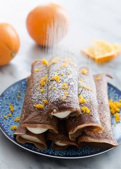 Delicious chocolate crepes filled with a soft, fresh orange cream cheese whipped cream. Perfect for breakfast or dessert! From Erica Kastner of Buttered Side Up. Crepes Filling, Cream Cheese Filling, Chocolate Crepes, Delicious Chocolate, Chocolate Orange, Nutella Crepes, Crepe Recipes, Dessert Recipes, Pancake Recipes