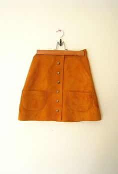 RESERVED for Emily . . . Suede Mini Skirt / 1960s Skirt / Mustard Suede