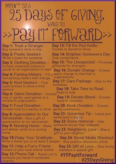 Pay it forward-25 days of giving