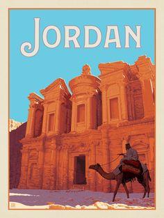 Jordan Tourism, Jordan Travel, Vintage Travel Posters, Vintage Postcards, City Of Petra, City Illustration, Animal Posters, Art Deco Design, Illustrations And Posters