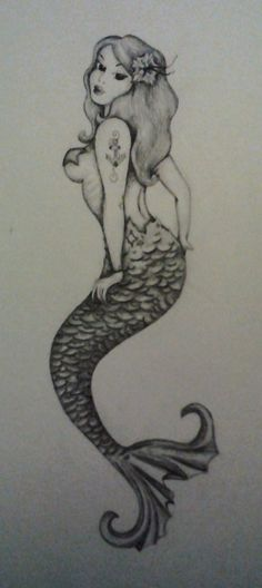 pin-up mermaid drawing but please cover her boob more