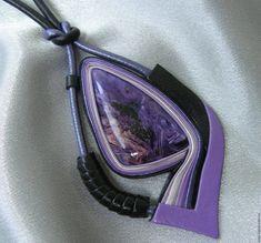 """Купить Кулон из кожи """"Фэнтези"""" - фиолетовый, черный, кулон из кожи, кожаный кулон, украшение из кожи"""