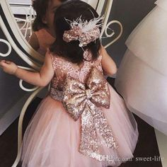 Baby Infant Toddler Birthday Party Dresses Blush Pink Rose Gold Sequins Bow Lace Crew Neck Tea Length Tutu Wedding Flower Girl Dresses 2017 Flower Girl Dresses Cheap Girls Pageant Dresses Online with $82.0/Piece on Sweet-life's Store | DHgate.com